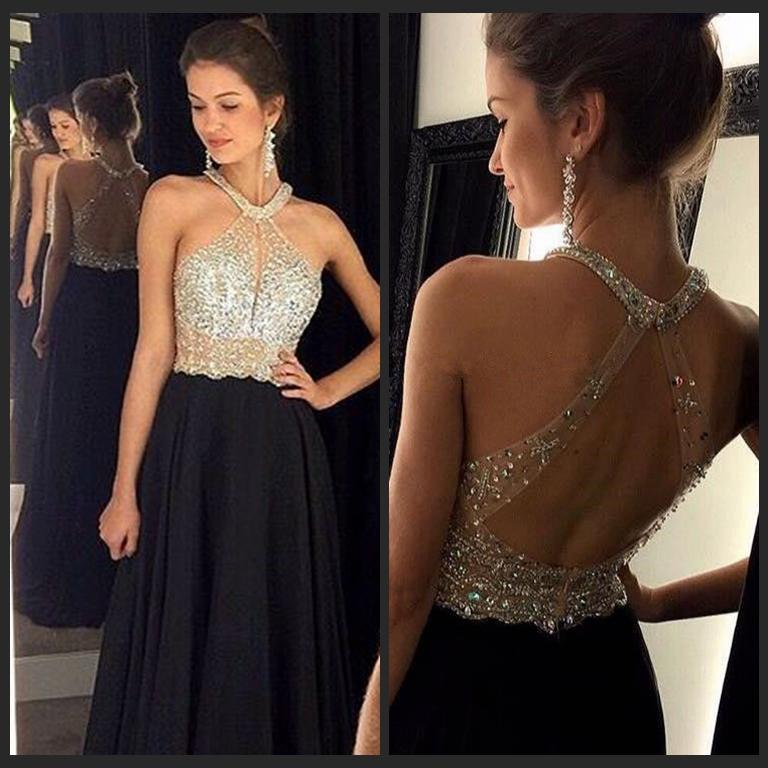 Seksi A-Line Siyah Balo Elbise Uzun Halter Boncuklu Abiye İnce Backless vestidos de fiesta Örgün Akşam elbise Parti Pageant elbise