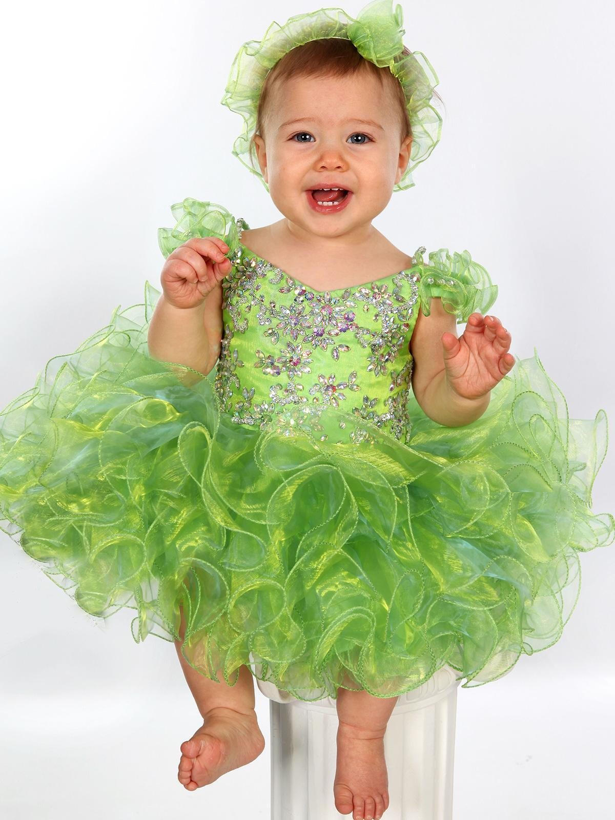Sparkling Green Girls Pageant Dresses Cupcake Gowns V Neck Rhinestones Beading Tier Ruffle Organza Toddler Kids Formal Wear Custom Made