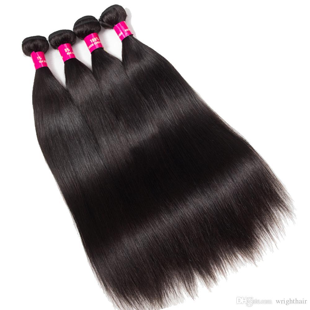 البرازيلي عذراء الشعر مستقيم 3 حزم مع إغلاق الدانتيل 100 ٪ غير المجهزة البرازيلي بيرو الماليزي الهندي لحمة الشعر مستقيم الإنسان