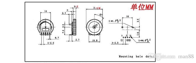 새로운 5피트 1K 14X1MM B 102의 트윈 터보 기어 다이얼 볼륨 조절 전위차계