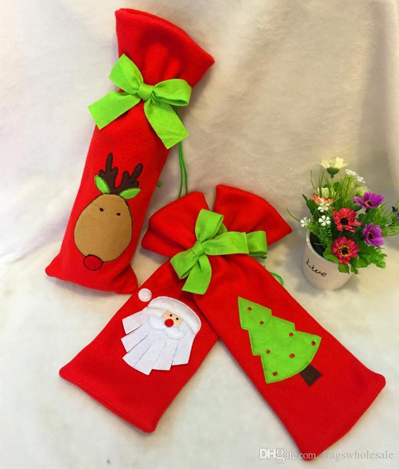 DHL Kravat Şarap Şişesi Kapağı Çanta Noel Süslemeleri Çocuklar Için Hediye Merry Christmas Bar Araçları En Iyi Hediye Xmas Bar