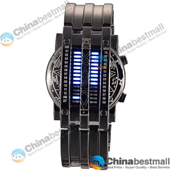 Personalidade da moda Completa Dos Homens Relógio de Aço Azul 28 LED Binário Militar Pulseira Sports Watch Relógio de Pulso dos homens Relógios Drop Shipping