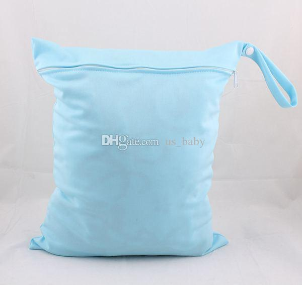 Sample Solid Color wet diaper bags AIO One Zippered Reusable TPU Waterproof baby Cloth Diaper Wet Dry Bags Choose