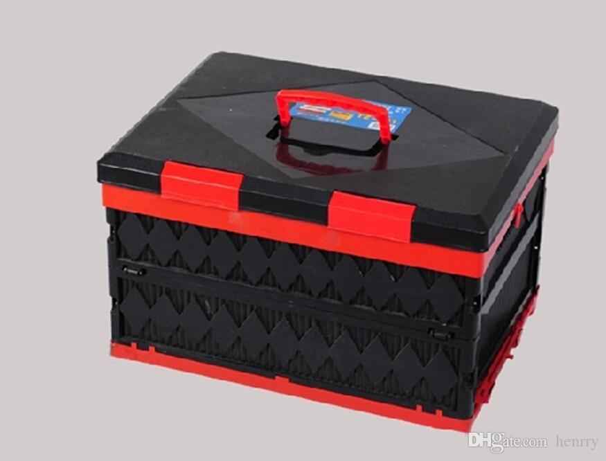 45L di grandi dimensioni pieghevole scatola di immagazzinaggio del tronco di plastica Car Locker pieghevole scatole di finitura di campeggio Automotive forniture 68-2B 1896