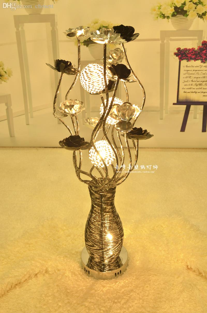 2018 wholesale modern fashion aluminum wire table light decoration 2018 wholesale modern fashion aluminum wire table light decoration artificial flower vase bountyless dried flowers bedroom lamp silver black from rosaling greentooth Images