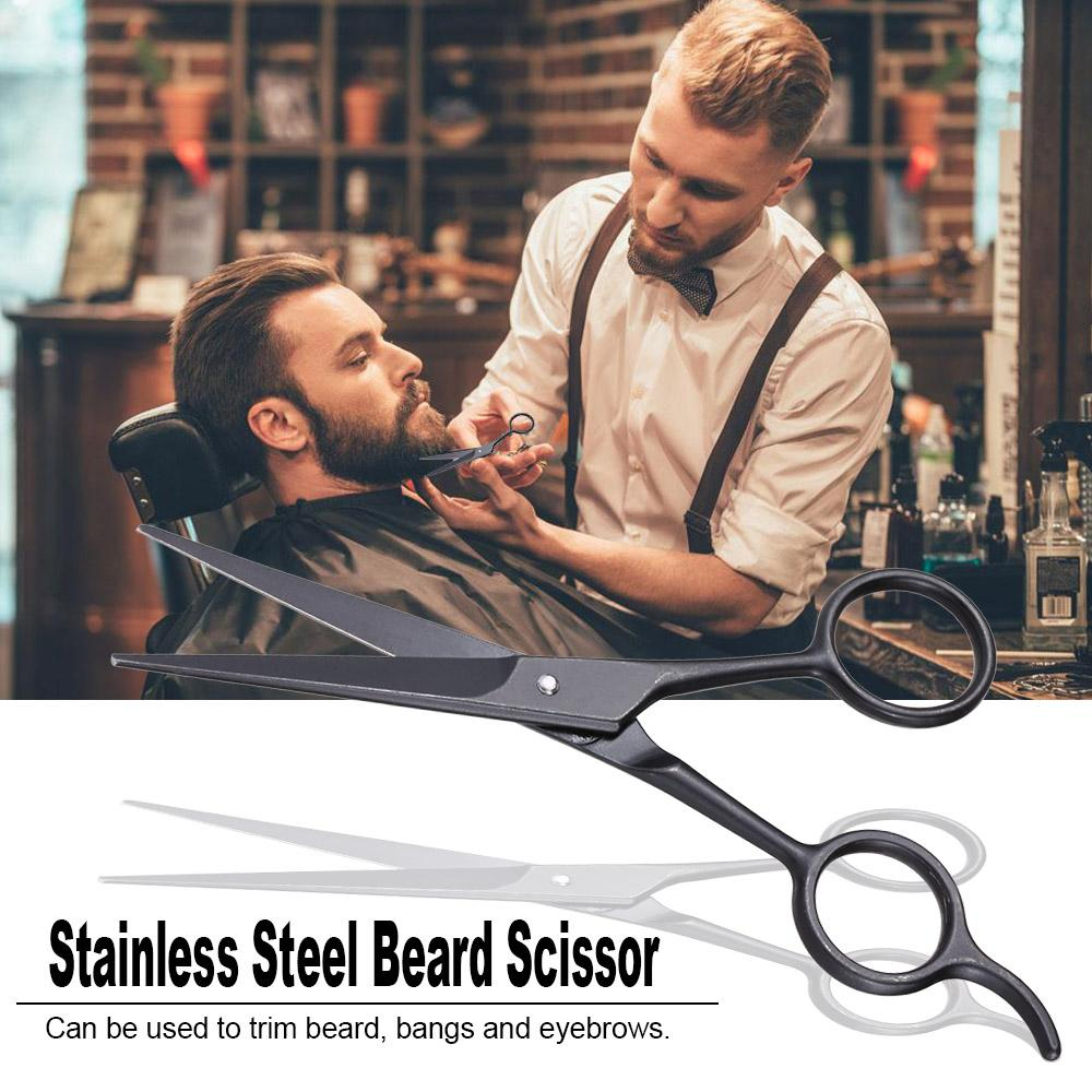 Stainless Steel Beard Scissor for Barber Home Use Black Mini Size Shaving Shear Beard Trimmer Eyebrow Bang Mustache Scissor