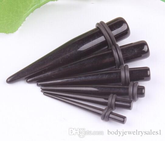 Noir UV Acrylique Oreille Étirement Tapers Expander Prises Tunnel Corps Piercing Bijoux Kit Jauges Bulk 1.6-10mm Boucle D'oreille Promotion Vente Chaude