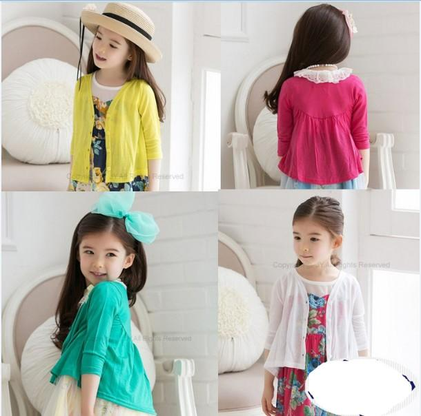 2015 Girls Long Sleeve Knit Cardigan Children Clothing Knitted ...