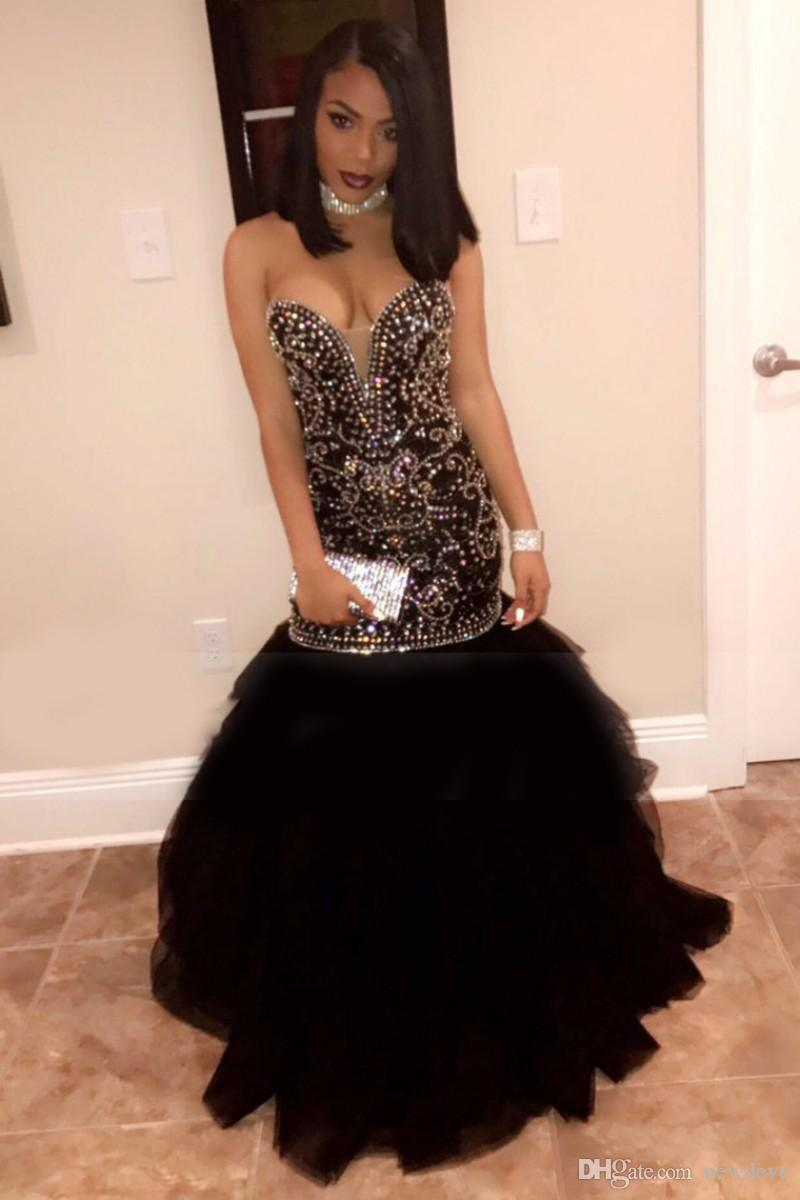 Sexy Open Back Dresses Party Evening With Bling Bling Rhinestones Crystals Mermaid Black Prom Gown Sweetheart Neckline Beads African Dress