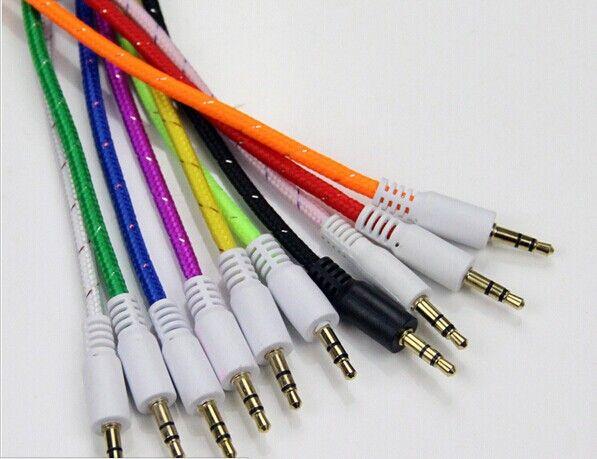 Плетеный AUX 3.5 мм стерео вспомогательный автомобиль аудио кабель между мужчинами для iPhone 6 6+ /Samsung Galaxy S5 / КПК / ipad / MP3