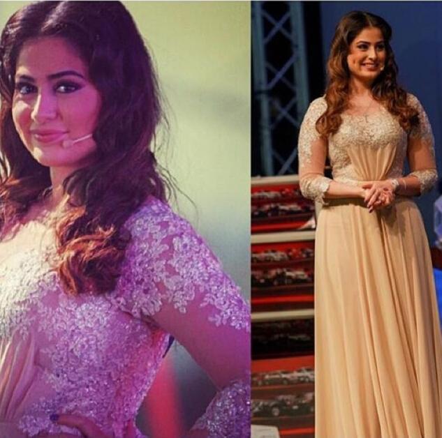 Bliski Wschodnie Sukienki Celebrity 2015 Inspirowane przez Myriam Fares Koronki Appliqued Szyfonowe Sukienki z 3/4 Długim rękawami