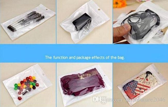 18CM * 10CM لؤلؤة بيضاء سستة التعبئة والتغليف كيس من البلاستيك لسماعة وكيس USB كيس التجزئة لحالة الهاتف لملحقات الهاتف المحمول