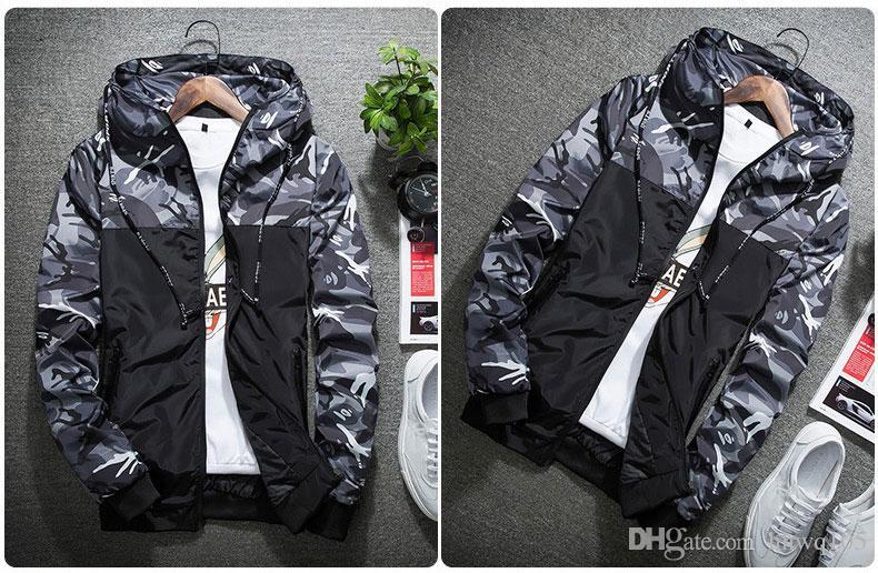 2018 Patchwork Camo Jacke Hohe Qualität Mit Kapuze Reißverschluss Windjacke Männer Frauen Mode Varsity Jacken Mantel Lässig NSG0903
