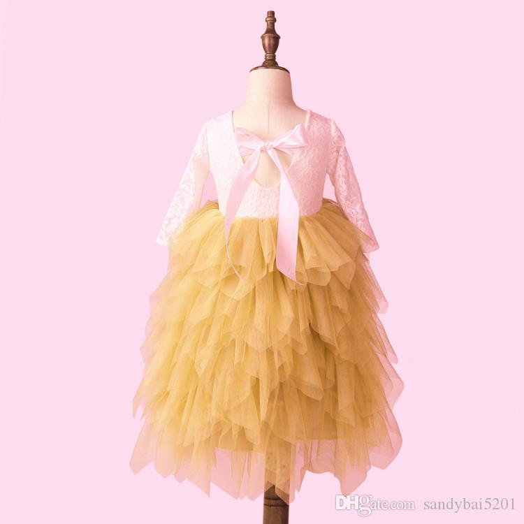 Kids Girls Lace Dresses Baby Girl Floral Embroidery Long Dress Boutique Infant Princess Full Sleeve Tulle Tutu Dress for Wedding Party B554