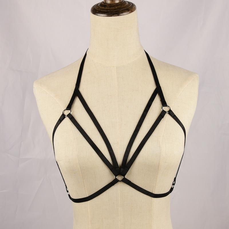 Bra Harness Bondage belt black، BDSM Gothic Fetish harness، Body Cage Harness، Bondage Lingerie، Girl Garter Belt، Crop Top، Se