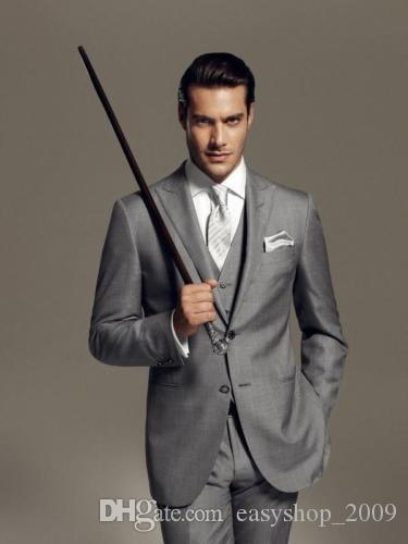 Custom Made TWo Buttons Groom Tuxedos Men's Suit Light Grey Grooms Wedding Suits 3 coat + pants + vest Custom made