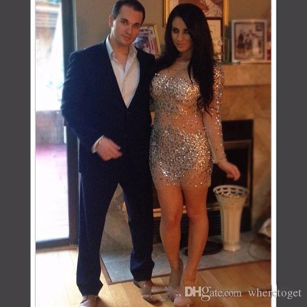 Kim Kardashian Vestidos Cristais Cocktail Vestidos com mangas compridas Veja thourgh Sheer Neck Bling Pedrinhas Bainha Curto Prom Vestidos