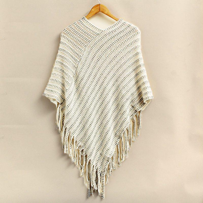 2015 Autumn Women V Neck Bat Sleeve Stripe Fringed Stitching Irregular Tops Poncho Shawl Cape Knitted Sweater Pullovers FG1511