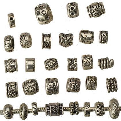 Jewelry Findings Rings Beads Pandora Charms Bracelets DIY Big Hole Round Antic Silver Can Set Crystals Metal Wholesales Fashion 9*7mm