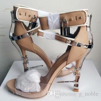 Lusso strass a spillo Sandali con tacco grosso Hollywood Fashion Lock Buckle Peep Toe Sandali con tacco alto Scarpe estive Donna