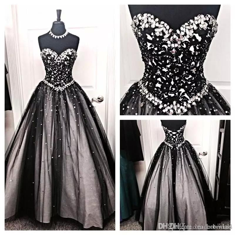 New Black White Tulle Ball Gown Evening Dresses 2018 Crystal Beaded ...