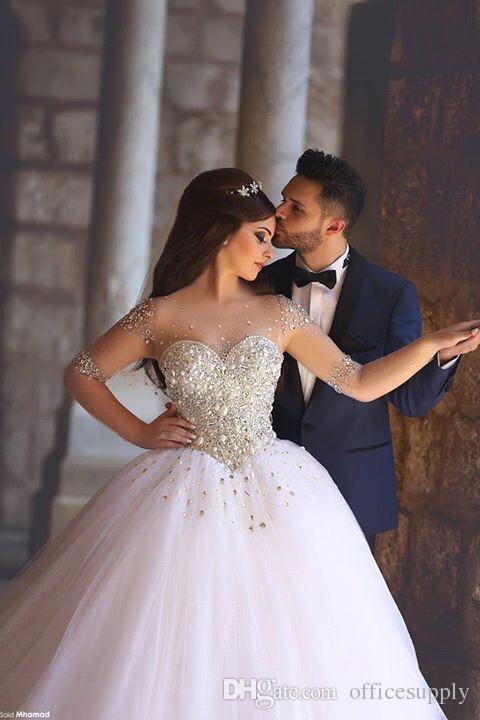 Robes De Noiva De Luxe Perlée Cristal Manches Longues Robes De Mariée 2019 Sheer Dos Tulle Balayage Train Robe De Bal Robes De Mariée