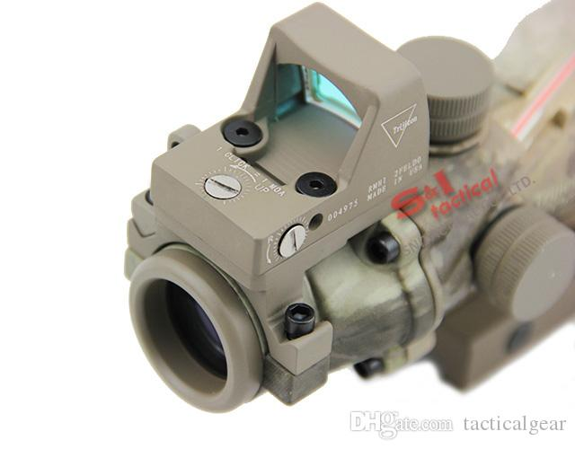 New Trijicon ACOG 4X32 Real Fiber Source Red IlluminatedReal Red Fiber Tactical Rifle Scope w/ RMR Micro Red Dot Sight A-TACS