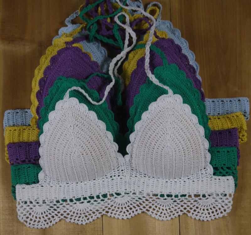 Venta caliente blanco Bikini Crochet Biquini marca diseñador traje de baño Sexy hecho a mano crocheted clásico crop top, Bikini crochet, sujetador superior personalizado colores