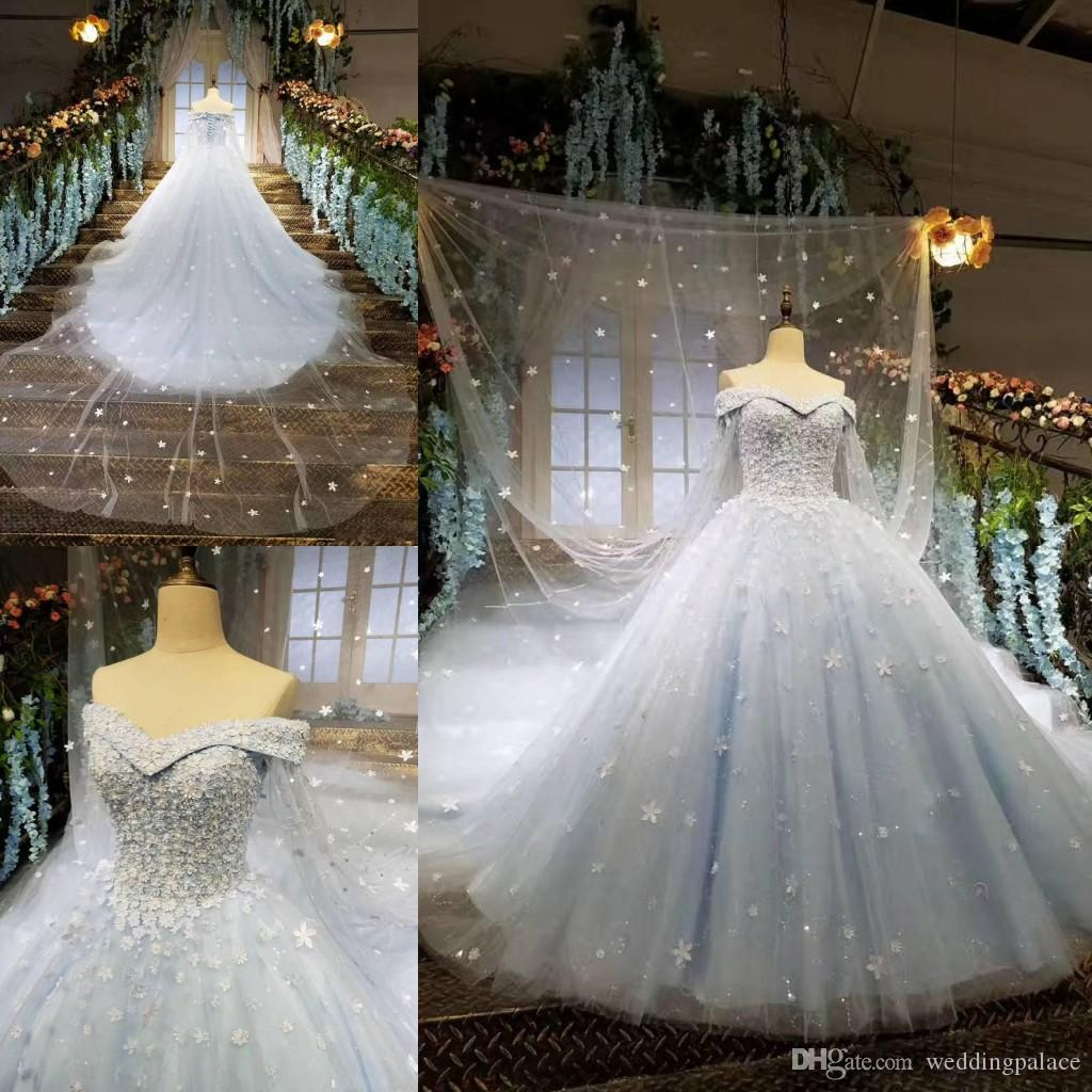 2018 New Arrival Vintage Arabic Wedding Dresses Light Blue Cape Ball ...