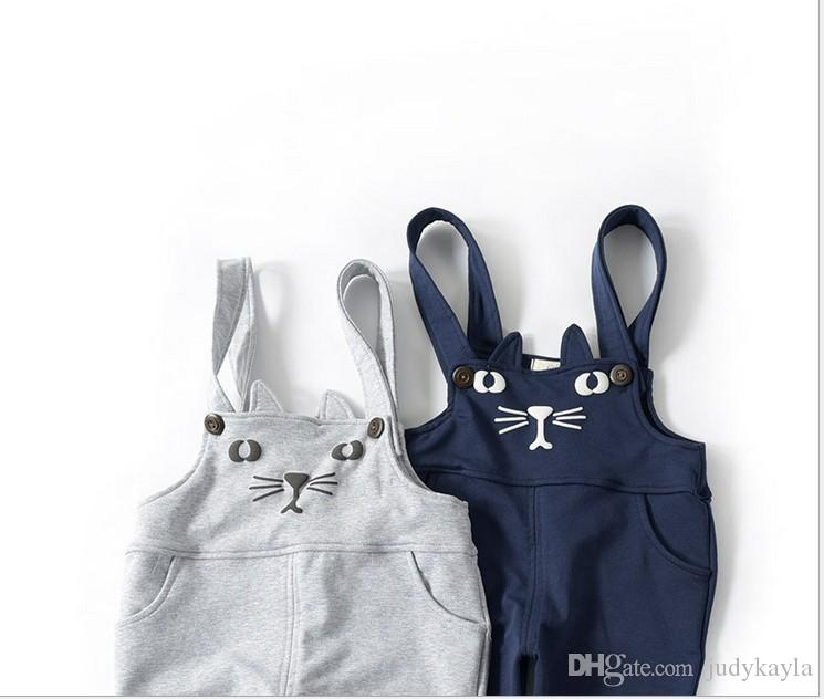 2019 New Arrival Boys Girls Cartoon Cat Suspender Pants Kids Casual Trousers Children Clothing Baby Boy Girl Pants