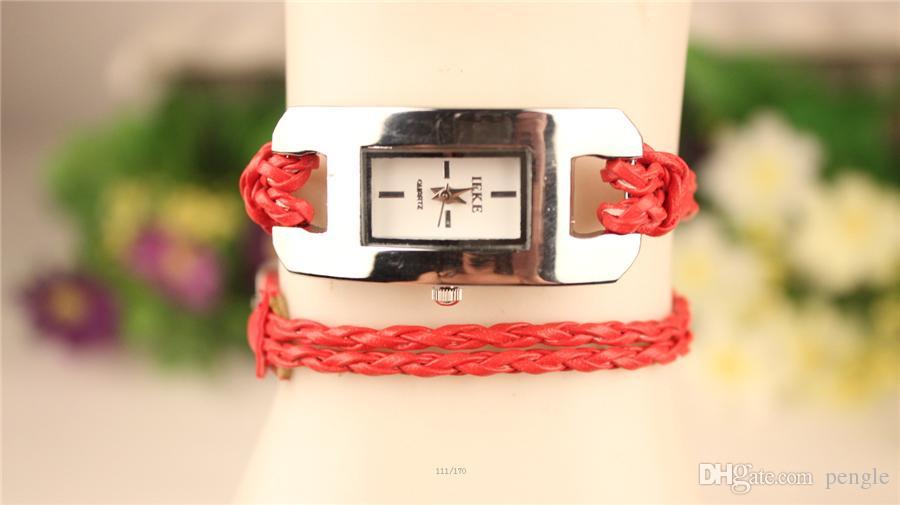 Wrap Bracelet Watches Weave Leather Wrist watches Fashion Rope Women Leather Bracelet Quartz Watches Mix Drop
