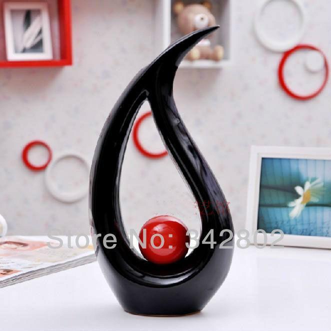 Vase en céramique en forme d'eau moderne pour choix de couleurs rouge noir blanc de vase de table HOme Decor