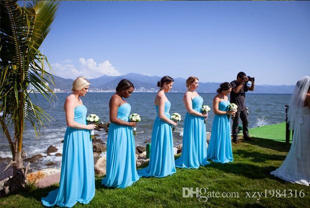 Vestidos de dama de honor azules baratos Tren largo y plisado de falda con pliegues Vestidos de fiesta de boda de gasa de alta calidad Vestidos formales de estilo de playa con pliegues