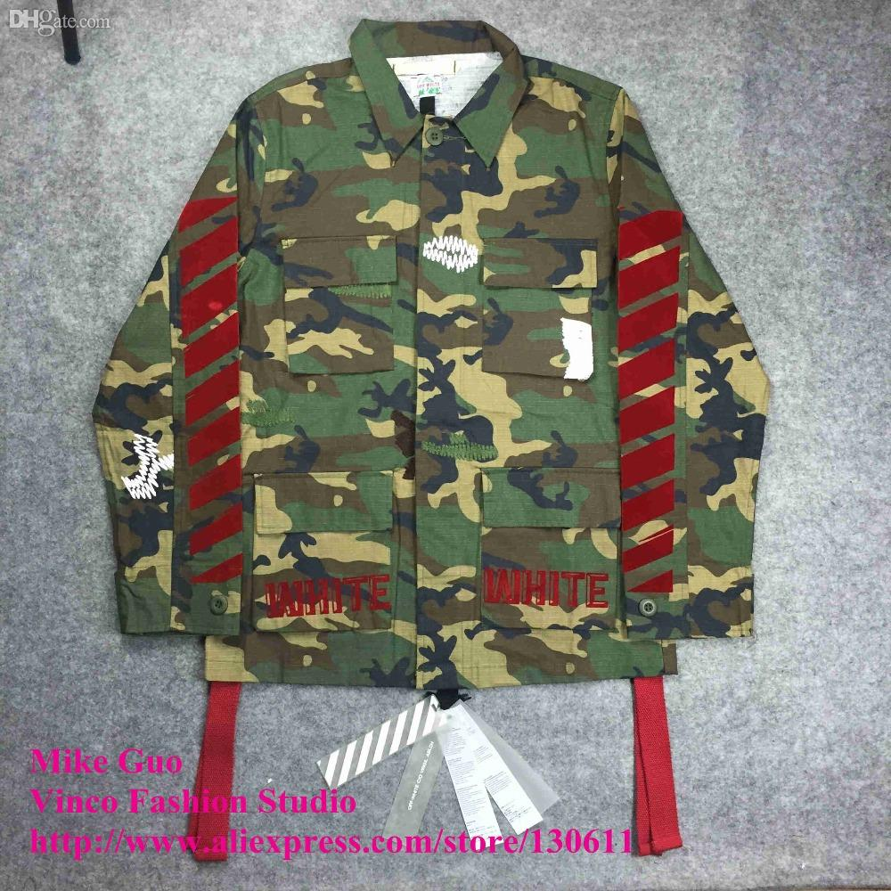 f1a0b287 Fall OFF WHITE 2016 New C/O Flocked Red Stripe EMBROIDERED Camouflage Field Jacket  Off White Virgil Abloh Denim Coat With Hood Jackets In Style From Shemei,  ...