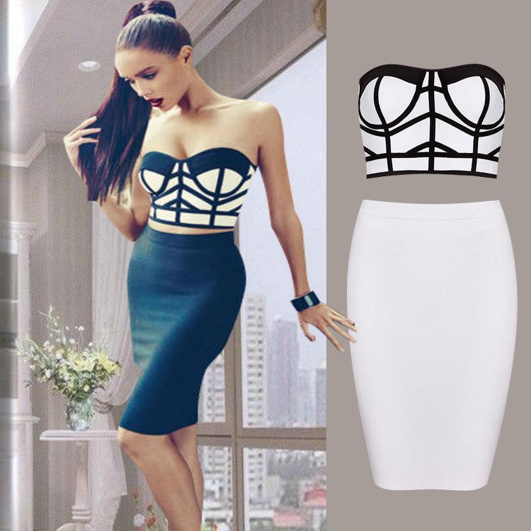 Sexy Womens Crop Top Two Piece Set Bandage Bodycon Hollow Out Black ... e4dfe857a0c4