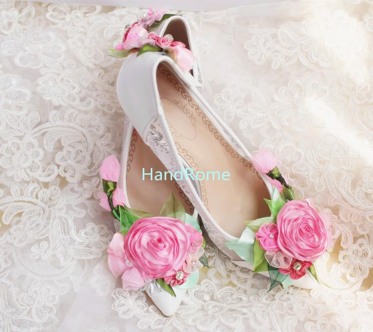 Kitten Heel Handmade Lace Wedding Shoes Exclusive Design Spring Flower Pearls Bridal Rhinestones Comfortable Prom Size US5 US10