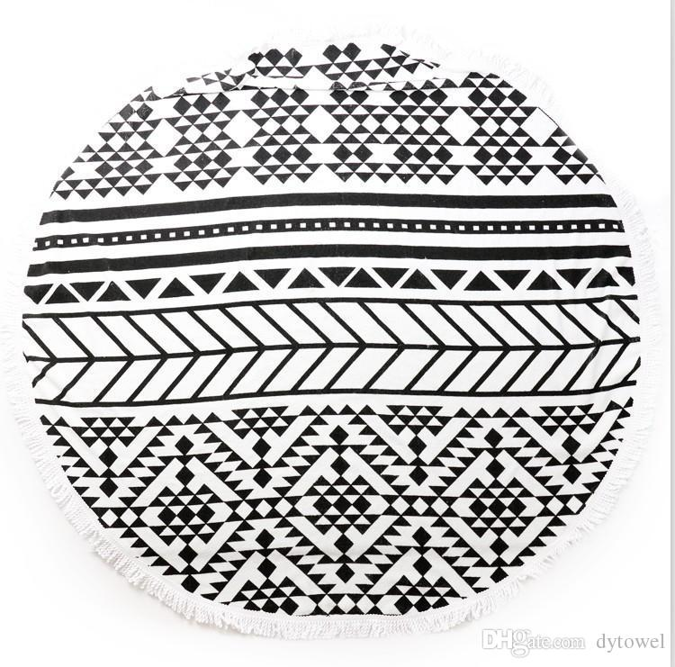 2015 New 1500mm Cotton Printed Round Beach Towel With Tassels Serviette De Plage Adulte Toallas Beach