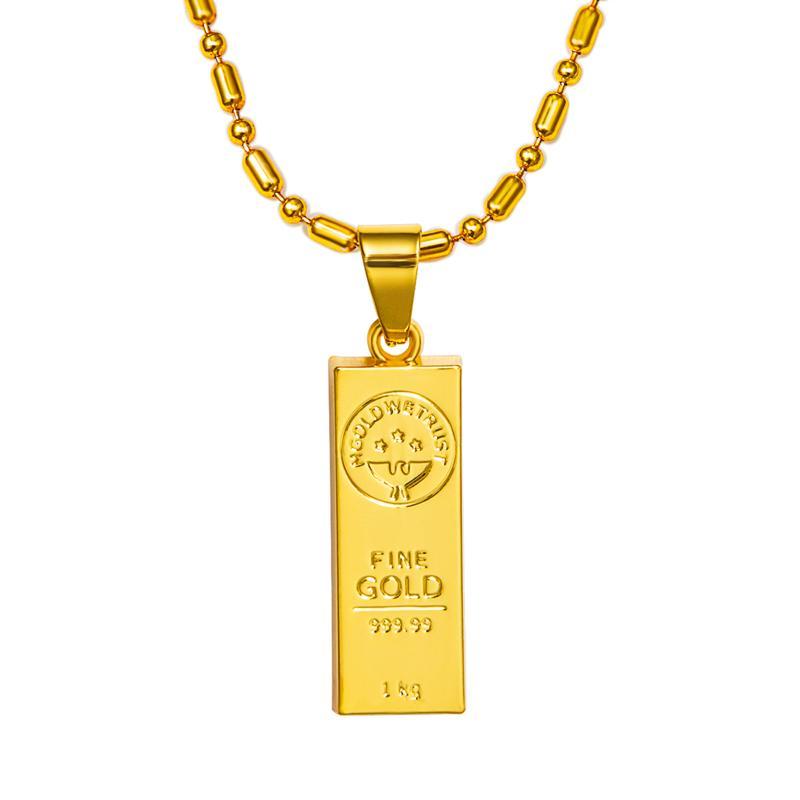 Wholesale Hip Hop Jewelry Gold We Trust Bar Pendent Jewel Necklace