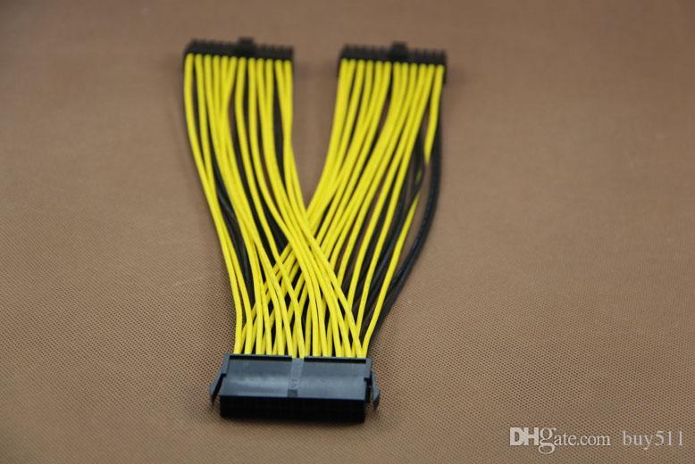 PC Sunucu PSU ATX 24Pin 1 Kadın 2 Erkek Y Splitter Anakart Güç Kablosu kablosu 18AWG 30 cm