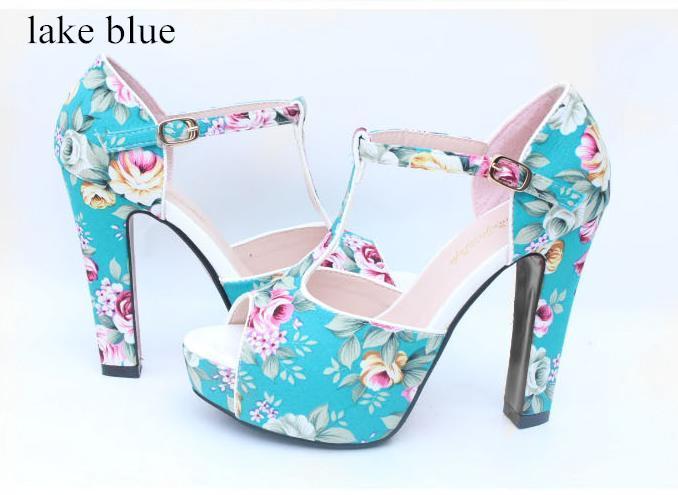 Sandalias mujeres atractivas flor romántica Floral T-Strappy alta tacones de aguja sandalias es