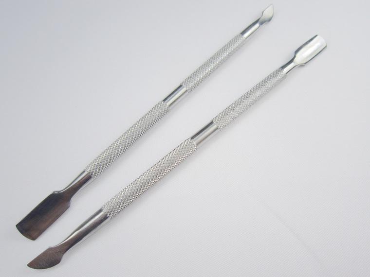 10 SZTUK Ze stali nierdzewnej Cuticle Pusher Laterover Skin Remover Manicure Nail Srebrny Salon Nail