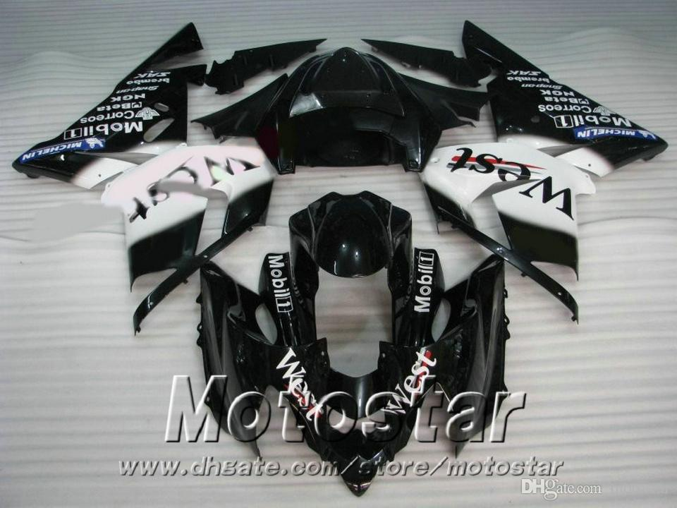 Injection molding Full fairing body kits for Kawasaki ZX-10R 2004 ZX 10R 2005 black white West fairings set 04 05 ZX10R SK1 +7gifts