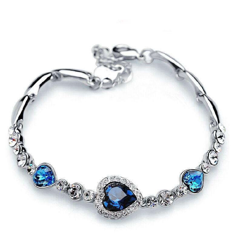 Charm Bracelets Love Heart of Ocean Top Quality Fashion Charm Crystal Bracelet Korean Style Diamond Jewelry Austrian Girls Birthday Gift