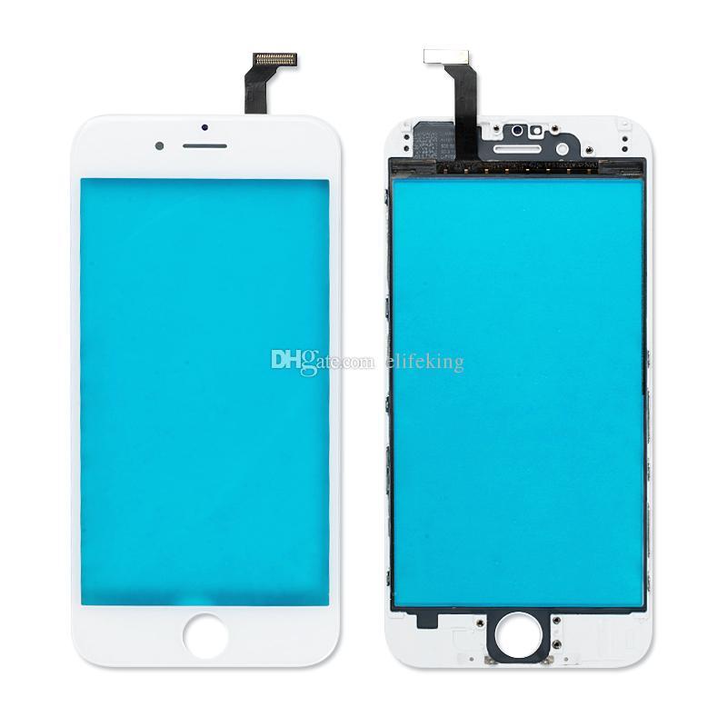 Pré-montados frente lente de vidro exterior para iphone 6 6 plus 6 s 6 s plus com moldura moldura média + oca film frente vidro preto branco