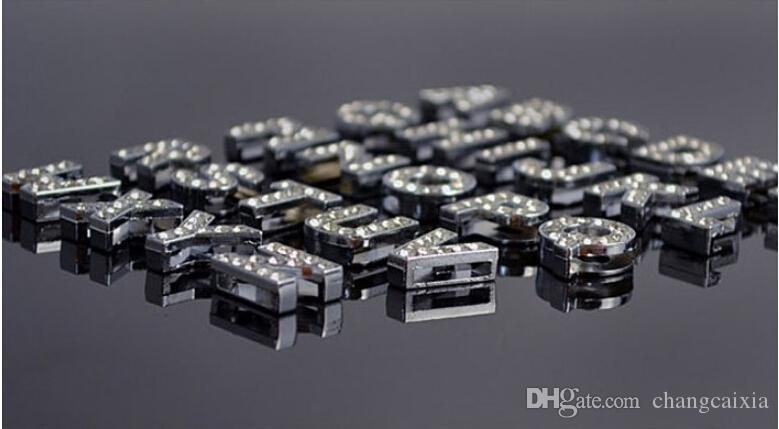 26 أجزاء / وحدة حار بيع جودة عالية 10 ملليمتر حجر الراين رسائل المتزلجون سحر ل diy كلب قلادة اسم قلادة