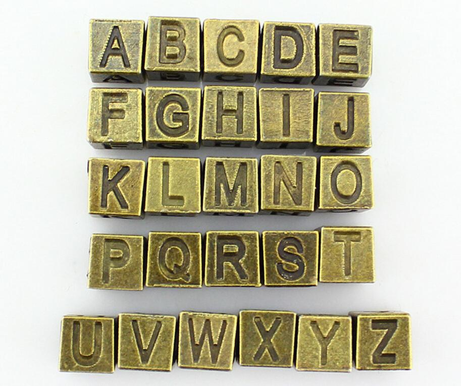 Vintage Bronze A-Z Alphabet Letter Cube Spacers Big Hole Beads7x7mm For DIY Jewelry European Charm Bracelets DIY Jewelry Findings