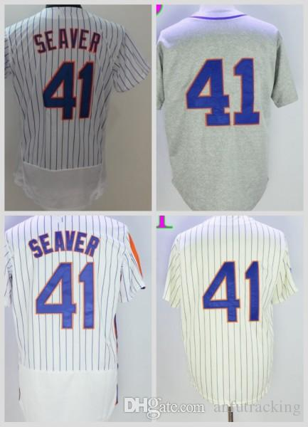 new style b1d12 95ca0 Wholesale 41 Tom Seaver Jersey 2016 Flexbase 25th Baseball New York  Baseball Jerseys 1969 Grey Cream Pullover White Pinstripe