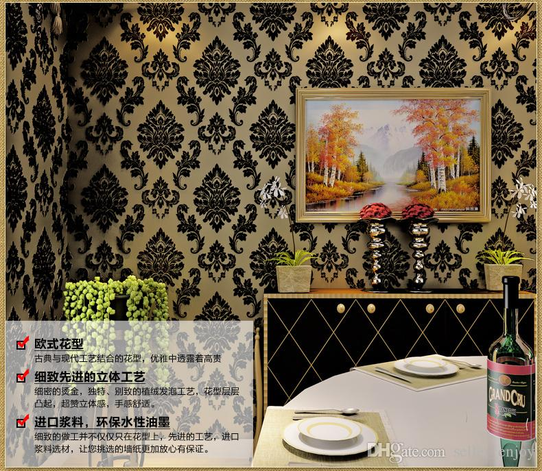 5.3sqm Classic wall paper home decor background European wall damask wallpaper black floral wallcovering 3d velvet wallpaper