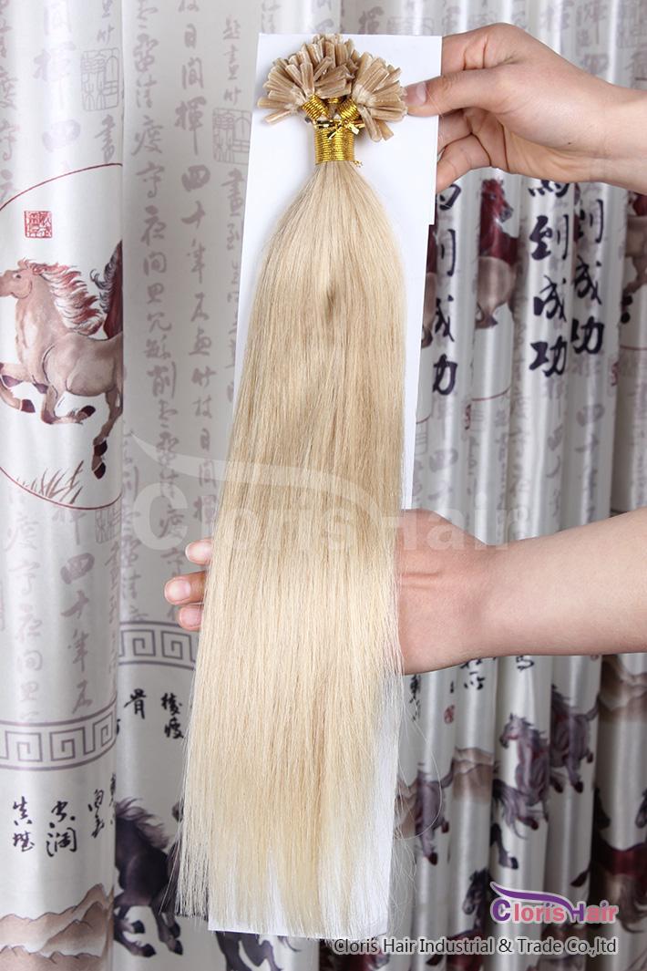 Estremamente dritta 50g Prebonded Italian Keratin Nail Tip U punta Fusion Indian Remy Estensioni dei capelli umani 100 fili 18-22