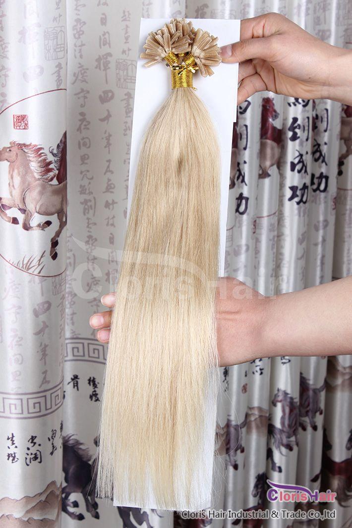 Silky Straight 50g Prebonded Italian Keratin Nail Tip U tip Fusion Indian Remy Extensiones de cabello humano 100 strands 18-22